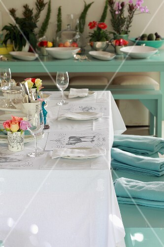 Laid table with floral decoration