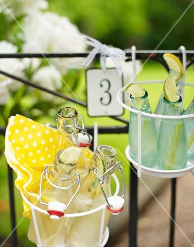 Bottles of lemonade in wire basket hung on garden fence
