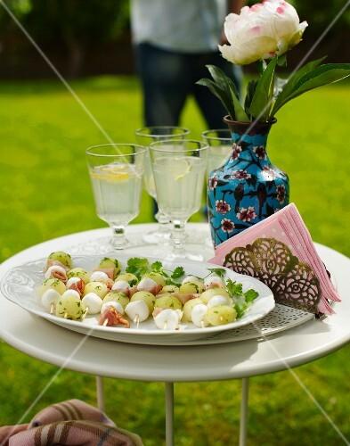 Melon and mozzarella skewers for a croquet garden party