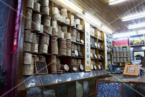 A pu-erh tea shop in the old town of Lijian (Yunnan, China)