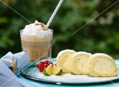 Lemon roulade and iced coffee