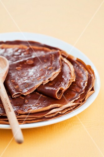 A stack of chocolate crepes