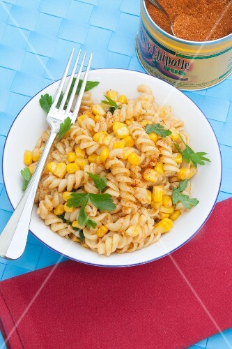 Spicy fusilli pasta with sweetcorn and parsley