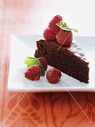 Whole Chocolate Cake with Raspberries