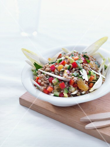 Wheat barley salad with vegetables