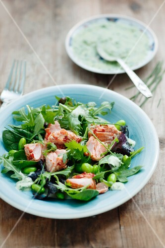 A mixed leaf salad with hot smoked salmon, broad beans, soya beans, chives and a herb dressing