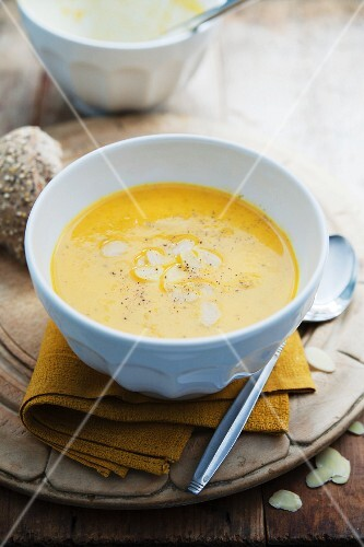 Butternut squash soup with slivered almonds
