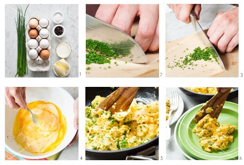 Scrambled egg with chives being made