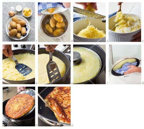 Potato cakes being made from new potatoes