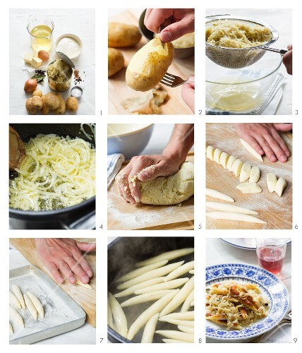 Potato orzo pasta with sauerkraut being made
