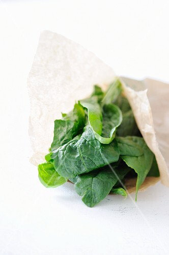 Spinach in a paper bag