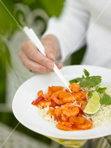 Sweet and sour prawns with rice