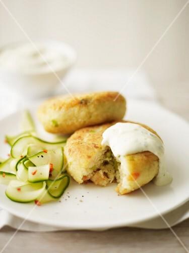 Thai fishcakes with a cucumber salad