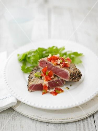 Peppercorn crust tuna steaks with tomato salsa