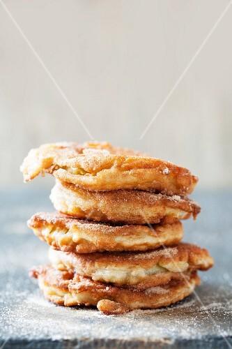 Fried apple rings with cinnamon sugar