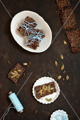 Healthy bars with pumpkin seeds