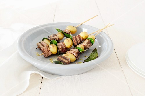 Grilled potato and beef skewers