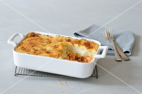 Parmentier with salmon and chorizo