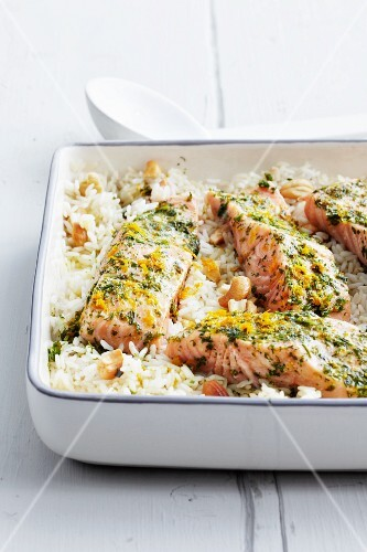 Orange salmon with cashew rice