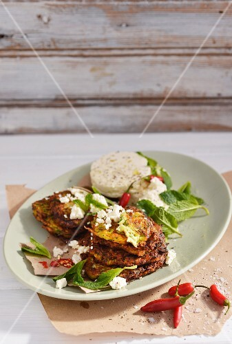 Pea fritters with mint and feta cheese