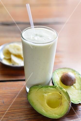 A banana and avocado smoothie