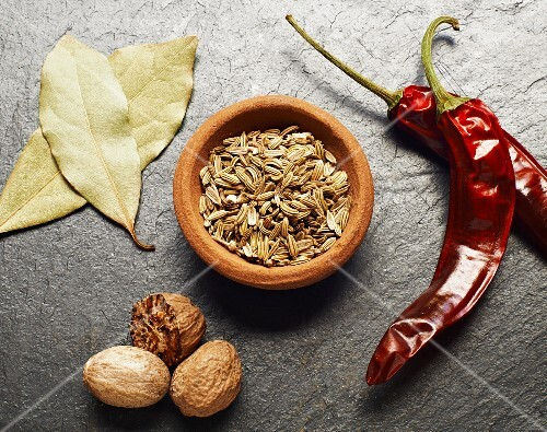 Fennel seeds, bay leaves, nutmeg and dried chilli peppers