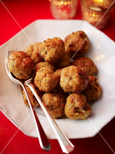 Staffed meatballs for Christmas