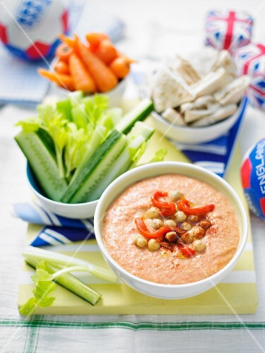 Vegetables crudités with a dip for a football party