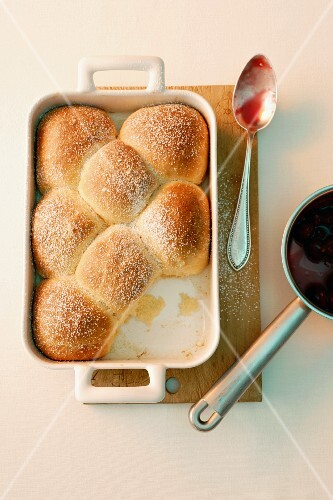 Rohrnudeln (baked, sweet yeast dumplings) with cherries