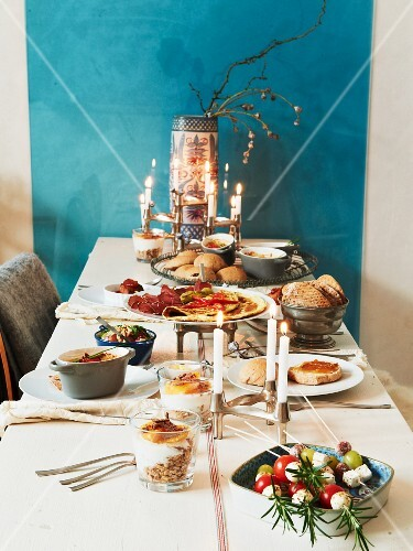 Table laid for brunch