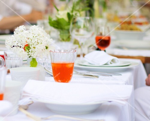 A table laid in a garden in the summer