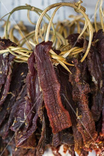 Dried beef at a market (Vientiane, Laos)
