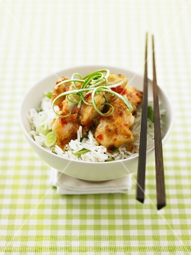 Thai chilli chicken on a bed of rice