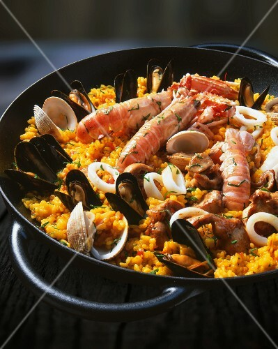 Paella with fish and seafood