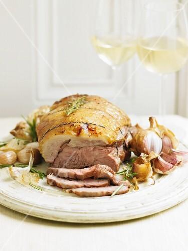 Roast lamb with garlic and rosemary