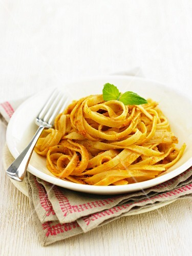 Ribbon pasta with red pesto