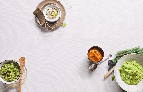 Four different vegetable purées (seen from above)