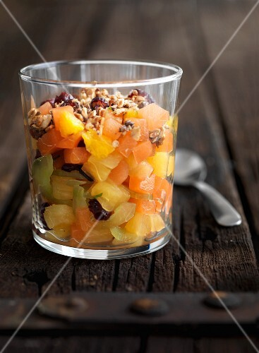 Fruit salad with chopped nuts