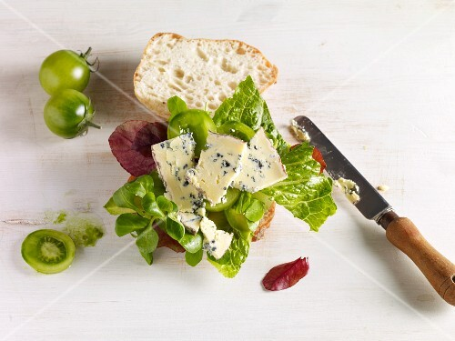 A sandwich with Barkham Blue blue cheese, tomatoes and lettuce