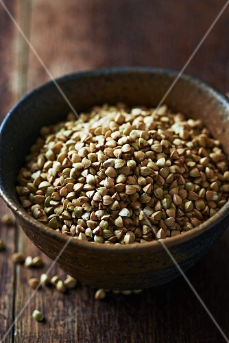 Organic buckwheat in a ceramic dish