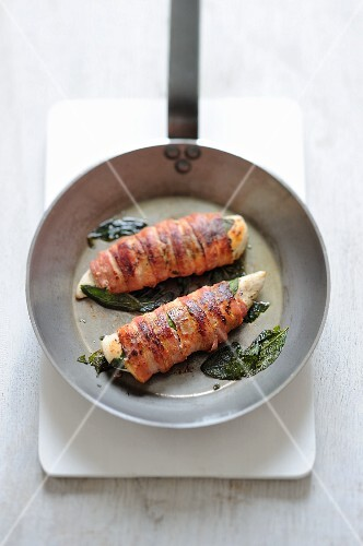 Chicken breast wrapped in bacon with sage