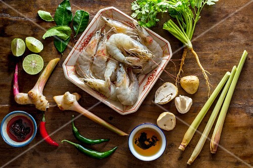 Ingredients for Thai tom yum gung
