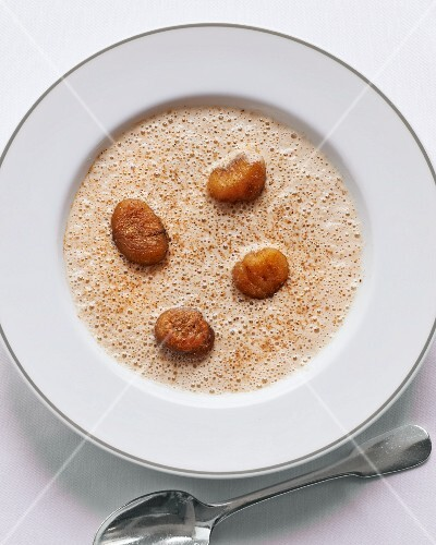 Porcini mushroom soup with chestnuts