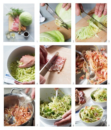 Coleslaw with bacon being made