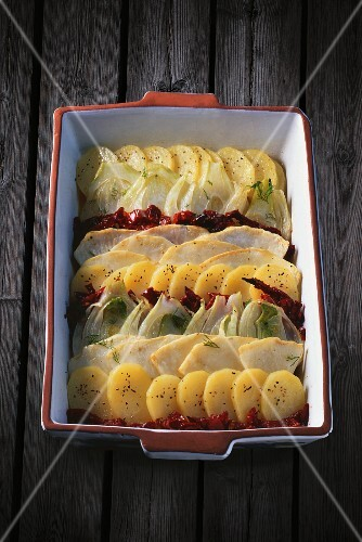 Vegetable gratin with tomato confit