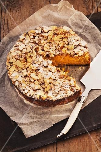 Almond polenta cake, sliced