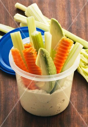 Vegetable sticks with hummus