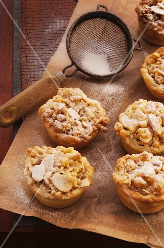 Stollen mince pies with slivered almonds and I triple
