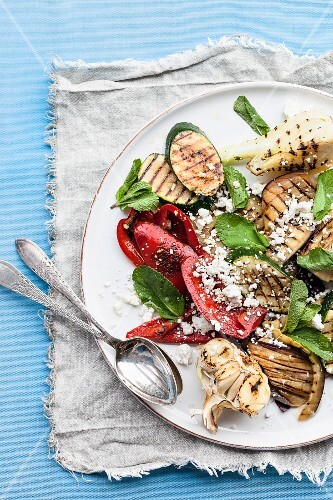 Roasted vegetable salad (courgette, pepper, garlic) with mint and feta