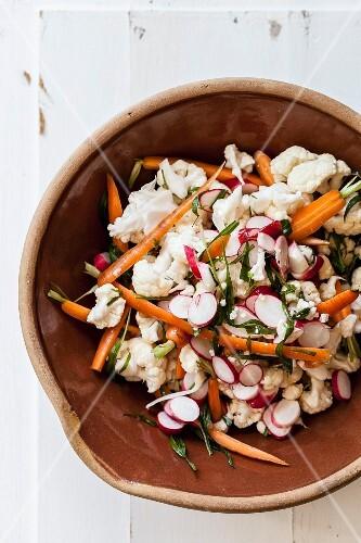 Cauliflower salad with radishes, carrots and tarragon